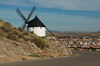 View of a windmill over Consuegra,Castile–La Mancha,Spain,Europe