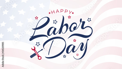 Fotografia Labor Day lettering USA background vector illustration