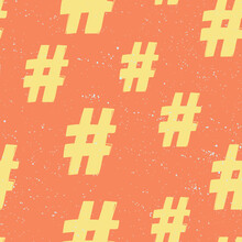 Hashtag. Seamless Pattern, Gre...