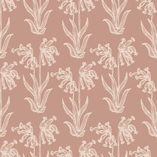 Droopy Wildflower Seamless Vec...