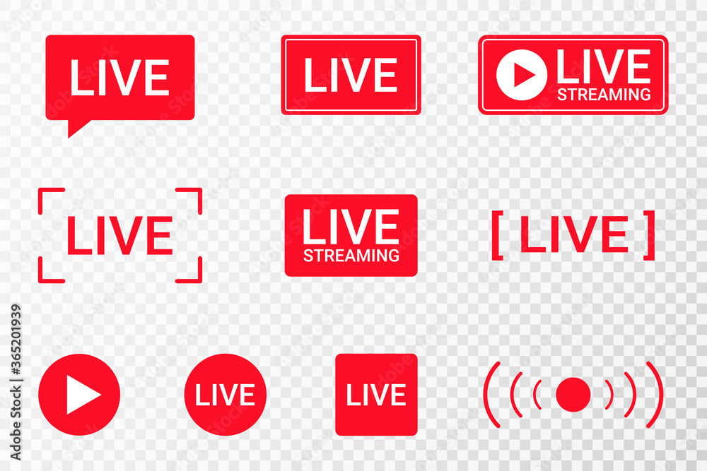 Fototapeta Set of live streaming icons. Red symbols and buttons of live streaming, broadcasting, online stream. Lower third template for TV, shows, movies and live performances