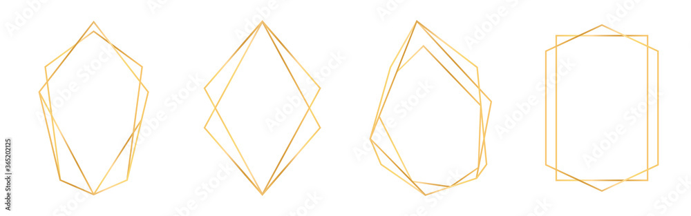 Fototapeta Set of golden geometric frames in art deco style. Luxury gold frames or borders for wedding invitations and wedding cards. Abstract geometric shapes