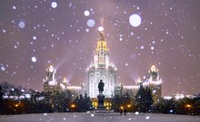Heavy Evening Snowfall In Nicely Illuminated Campus Of Famous Russian University