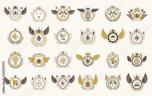 Leinwand Poster Vintage heraldic emblems vector big set, antique heraldry symbolic badges and awards collection, classic style design elements, family emblems