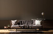 Leinwandbild Motiv Empty wall mock up in modern style interior with wooden furnitures. Minimalist interior design. 3D illustration.