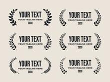 Cinema Film Festival Award Nomination Leaf Olive Branch Laurel Prize. Flat Vector Set.