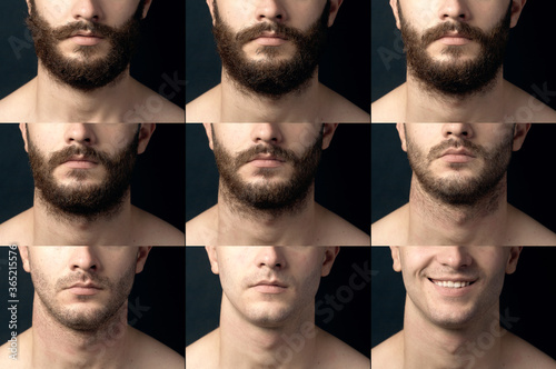Fotografia Beard, shave before and after