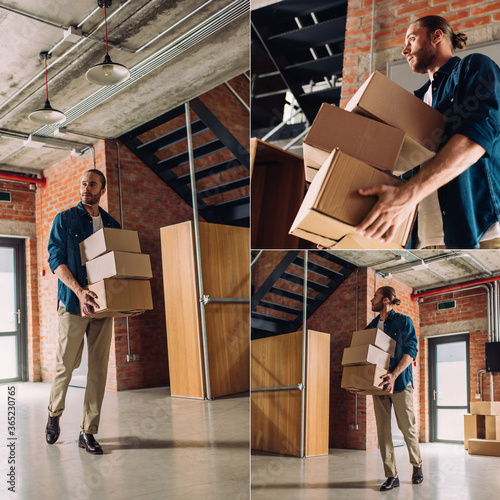 Photo collage of bearded businessman holding carton boxes while moving in new office