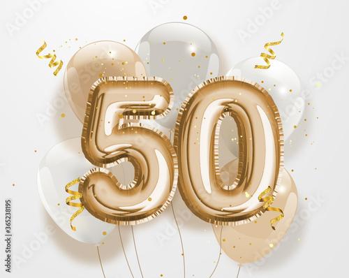 Tela Happy 50th birthday gold foil balloon greeting background