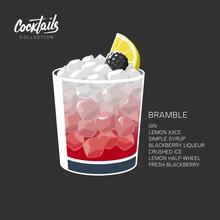 Glass Bramble Cocktail Ice Lemon Blackberry Vector Illustration