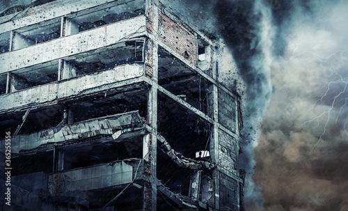Building destroyed during a hurricane. Digital illustration Wallpaper Mural