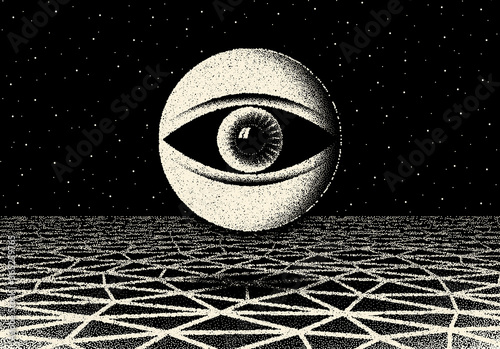 Retro dotwork landscape with 60s or 80s styled alien robotic space eye over the Wallpaper Mural