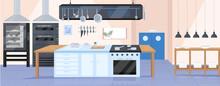Modern Kitchen Flat Color Vector Illustration