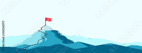 Obraz na plátně Flag on the mountain peak. Flat style vector illustration