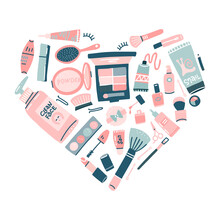 Hand Drawn Cosmetics Set. Professional Makeup Items In Heart Shape. Vector Decorative Illustration In Trendy Flat Style For Web Design Or Print.