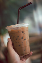Iced Mocha Hold By Hand Take A...