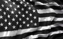 Black Lives Matter Flag Blowing In The Wind. Full Page Striped Black And White USA Flying Flag.