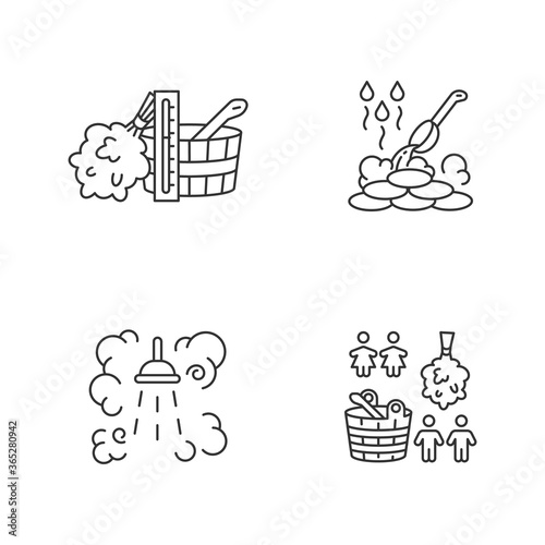 Cuadros en Lienzo Sauna culture pixel perfect linear icons set