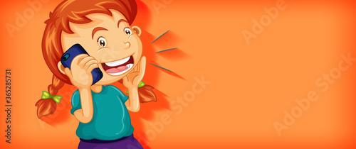 Fototapeta Cute girl talking on the phone cartoon character isolated obraz