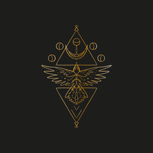 Sacred Line Geometric Symbol With Bird And Moon Phases, Gold Figure On Black Background. Abstract Mystic Geometry. Vector Illustration.