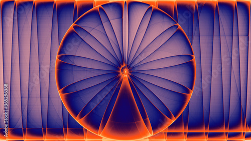 Tablou Canvas rendu d'un travail numérique représentant la naissance d'une rose géométrique ab