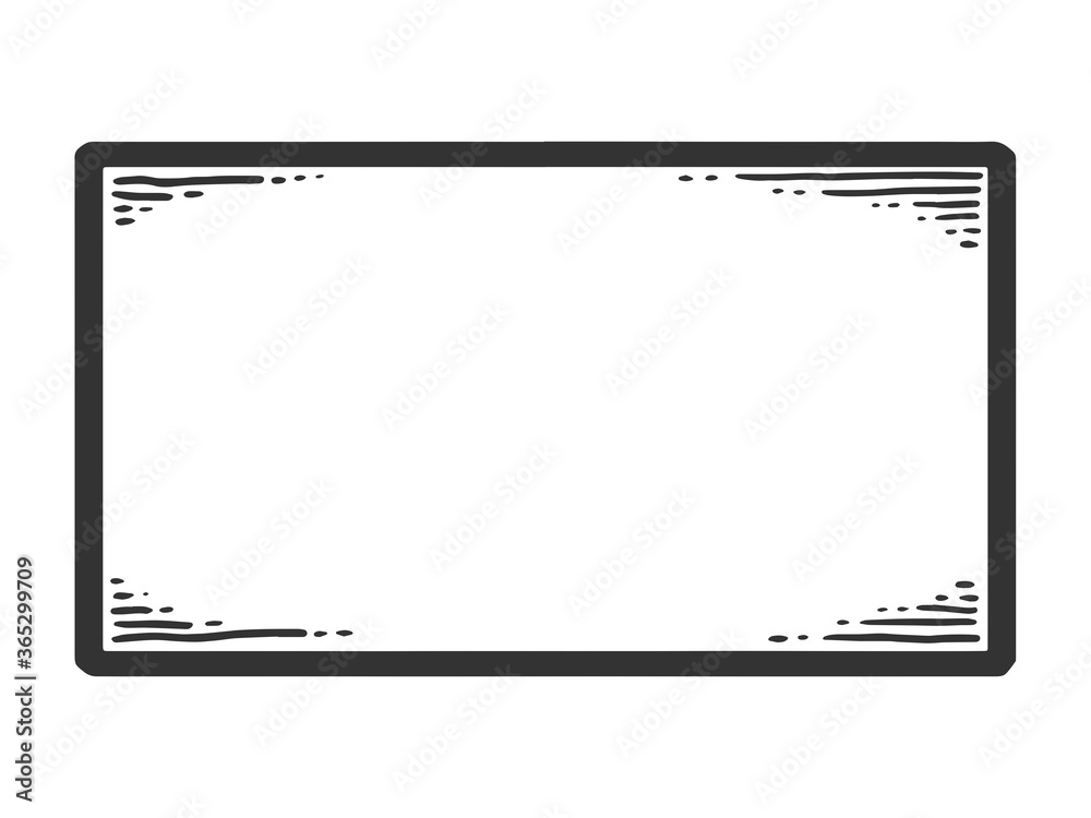 Fototapeta Nameplate. Sketch scratch board imitation. Black and white.