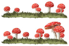 Red Fly Amanita Mushrooms In G...