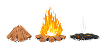 Set Of Three Campfire Stages Isolated Illustration, Firewood Ready For Fire, Campfire With Long Flames, Ashes After The Fire, Stages Of Bonfire, Ash And Coal
