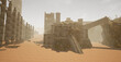 This is a 3D rendered illustrations scene of a level design concept based on a ancient desolate ruins that is surrounded by a desert.