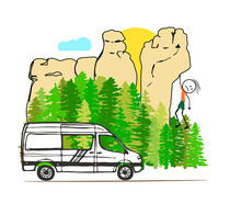 A White Van With Forest And Sa...