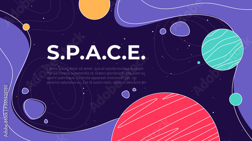 Obraz Vector illustration on the theme of outer space, interstellar travels, universe and distant galaxies - fototapety do salonu