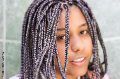 Obraz na plátně Selective focus on hair