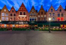 Bruges. Market Square At Sunset.