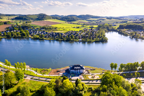 Photographie german sorpetalsperre dam in the sauerland from above