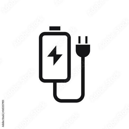 Foto charger vector icon logo design