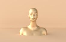 Female Golden Mannequin Head 3d Render. Shop Display, Pastel Colors. Woman Face