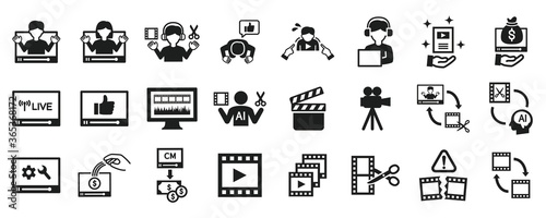 Video editor and YouTuber icon set