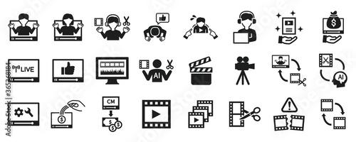 Obraz na plátně Video editor and YouTuber icon set