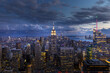 Manhattan Midtown Skyline with Empire State Building and One World Trade Center at Sunset. NYC, USA