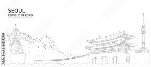 Seoul cityscape line vector Wallpaper Mural