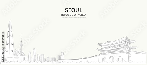 Obraz na plátně Seoul cityscape line vector