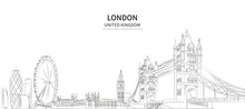 London Cityscape Line Vector. Sketch Style British Landmark Illustration