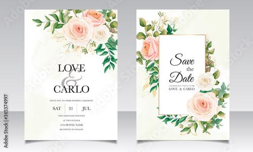 Obraz Beautiful floral frame wedding invitation card template - fototapety do salonu