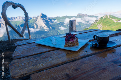 Fotografie, Obraz romantic valentines day morning coffee and heart in mountains, dolomity italy