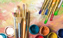 Artist Paint Brushes And Paint...