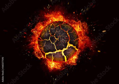 暗闇を照らす炎の球体の3Dイラスト