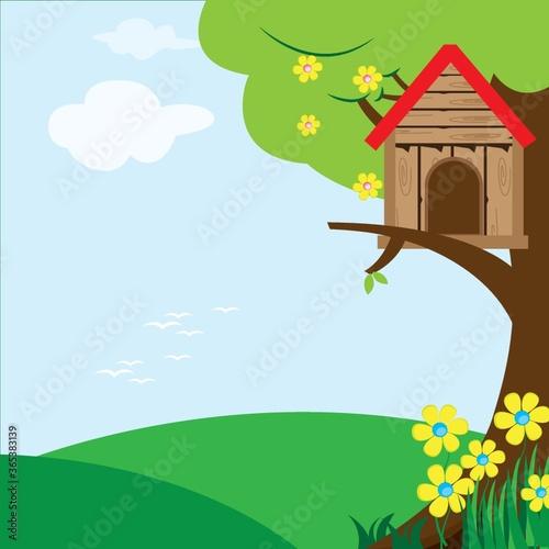 Canvas-taulu birdhouse on tree