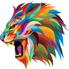 Roaring Lion Vector.multicolor...