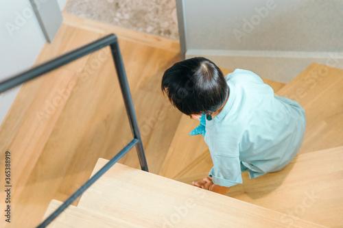 小さな子どもが家の階段を降りる kids boy stairs Canvas Print