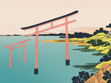 Illustration Of Two Red Torii ...